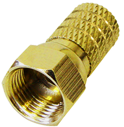 10 x Twist On F Stecker Steckerlänge 20 mm, Twist On-Ø: 3,8mm, goldfarben