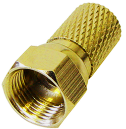 Twist On F Stecker Steckerlänge 20 mm, Twist On-Ø: 8,0mm, goldfarben